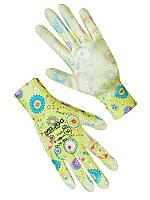 Перчатки женские синтетические желтые с полиуретановым покрытием