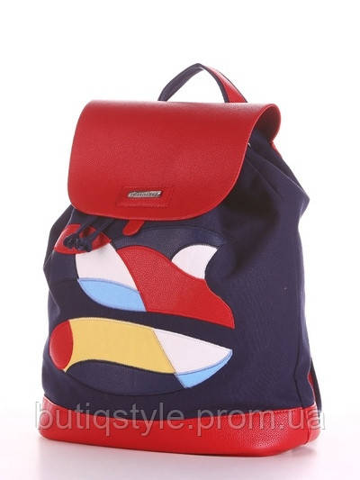 Рюкзак молодіжний синій з принтом еко-шкіра +текстиль, Україна
