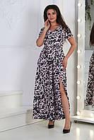 Платьедлинное с разрезом, №124, розовый леопард