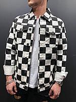 Джинсовый пиджак мужской черно-белый в клетку