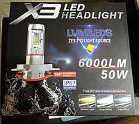 X3H4 LED лампы светодиодные H4 комплект (две лампы)  6000LM 50W для головного освещения