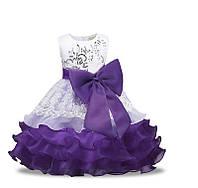 Детское нарядное платье пышное фиолетовое с бантом на 3-7 лет