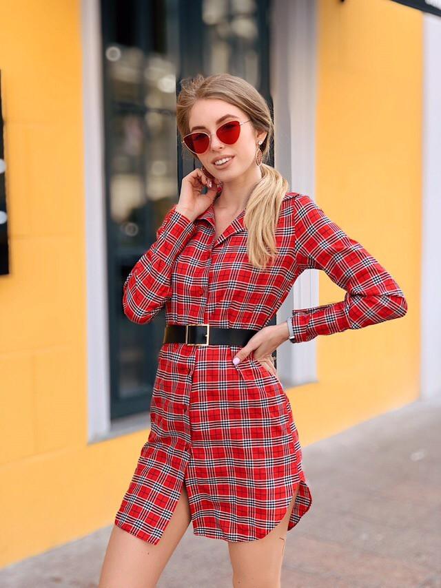 7fbc538e675 Легкое летнее платье рубашка хлопок Красный - Интернет-магазин одежды  Lagracia в Харькове