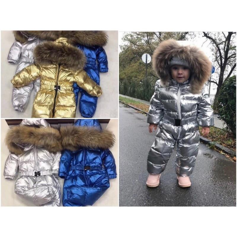 Зимний детский комбинезон металик
