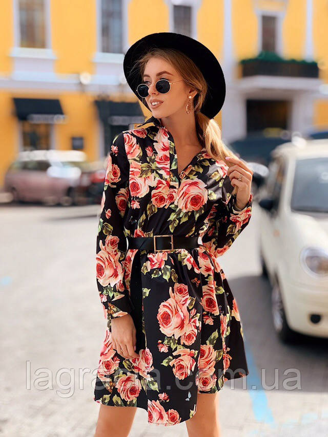 Модное летнее платье клеш Черный
