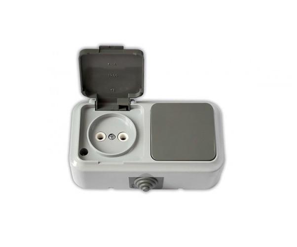 """Блок брызгозащищенный серый, выключатель 1 кл + розетка б/з, 6-16 А, """"Пралеска Аква"""" BYLECTRICA (02-55-46) шт."""