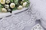 Кружево белого цвета с пышным цветком и завитками, ширина 13 см., фото 3