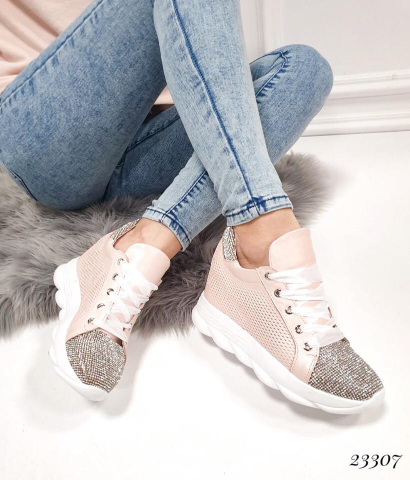 Кроссовки сникерсы в стразах в стиле Miu Miu. Камни цвет пудра