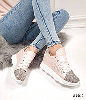 Кроссовки сникерсы в стразах в стиле Miu Miu. Камни цвет пудра, фото 1