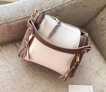 Модная женская сумка. Маленькая сумка женская (белая с розовым)