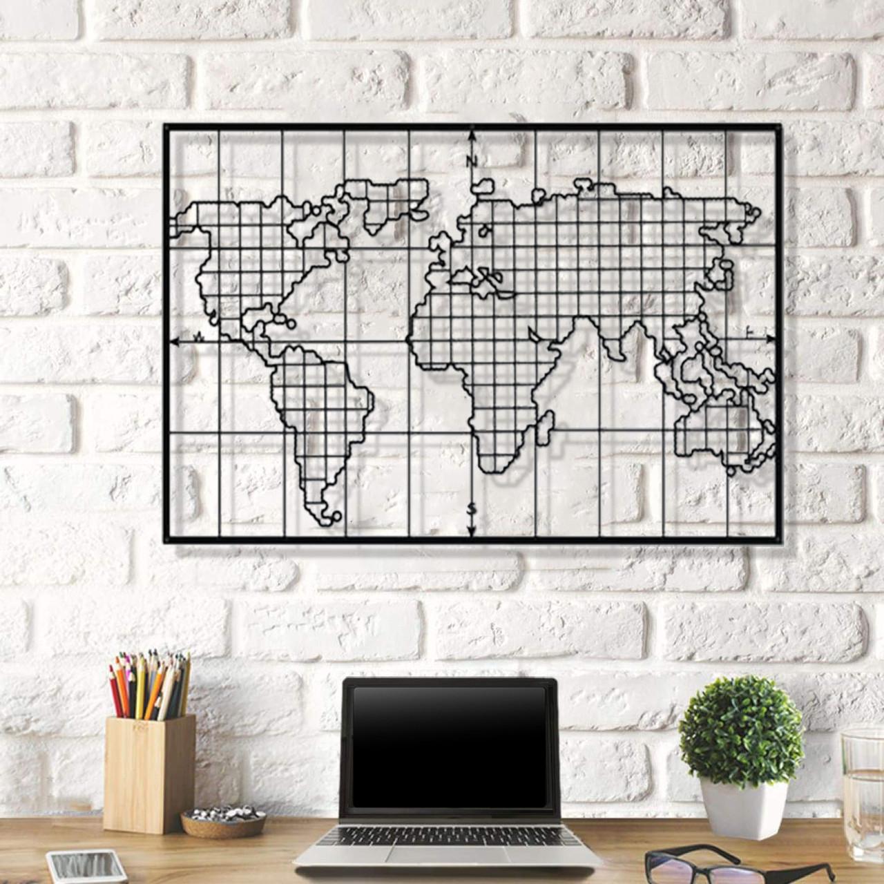 Декоративное панно из дерева Board World Map