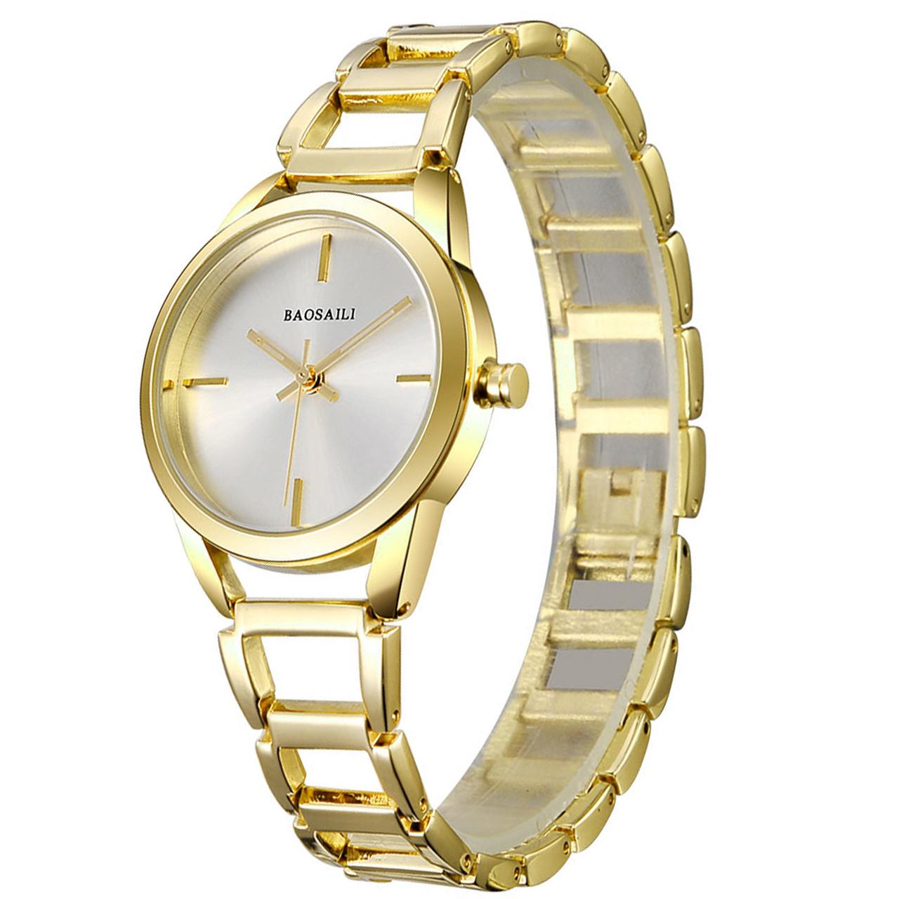 ➀Женские часы BAOSAILI BSL1041 Gold наручные часы для женщин и девушек кварцевый механизм