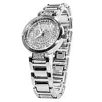 ☛Кварцевые часы BAOSAILI KJ805 Silver с камнями элитные женские наручные стальной браслет