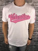 Трендовая Мужская Футболка Valentino белая 100% Хлопок Топ Хайповая Валентино реплика