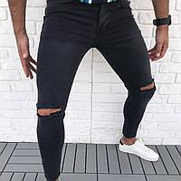 Мужские джинсы с разрезом на коленях (рваные джинсы) черные