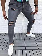 Мужские джинсы с разрезом на коленях (рваные джинсы) серые