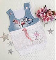 Сарафан детский на девочку, р. 1-4 года, серый+джинс голубой, фото 1