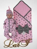 """Летний набор """"Звездопад"""" на выписку из роддома для девочки розовый р.56-62"""