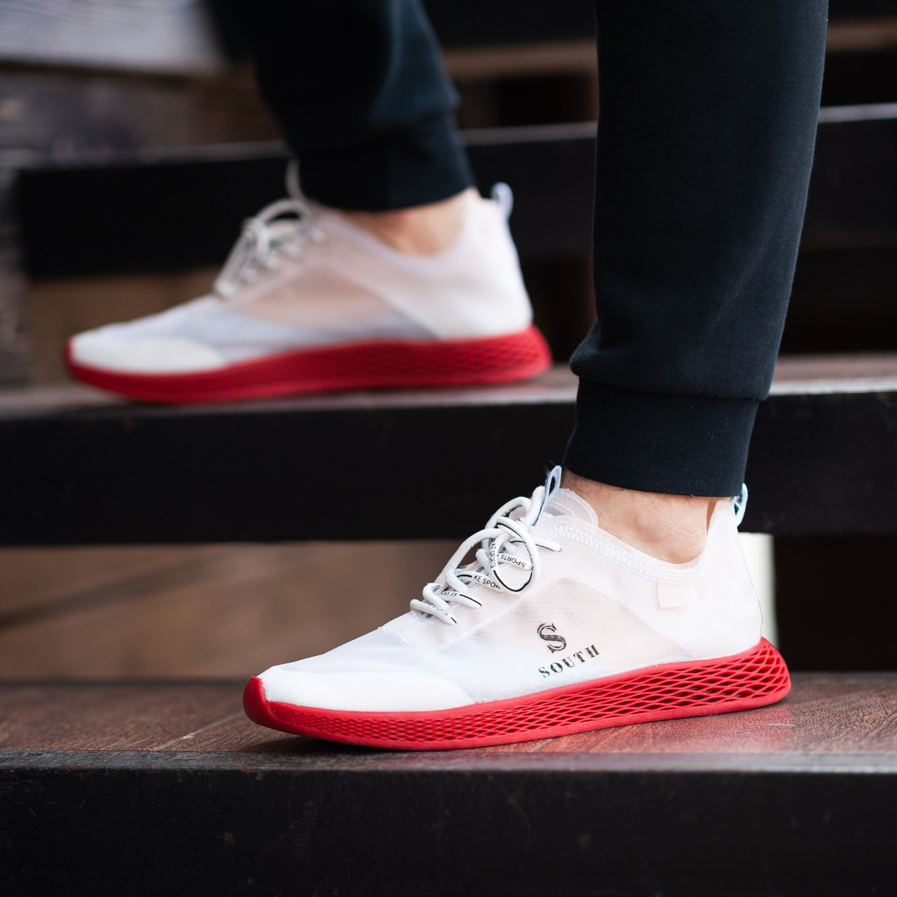 Мужские кроссовки South Sirius WHITE/RED. Текстиль