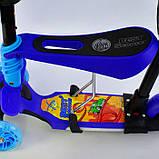 Самокат-беговел 5в1 Best Scooter 13588 с родительской ручкой и сиденьем, подсветка колес и платформы, фото 4