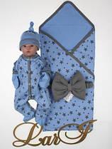 """Летний набор """"Звездопад"""" на выписку из роддома для мальчика голубой р.56-62"""