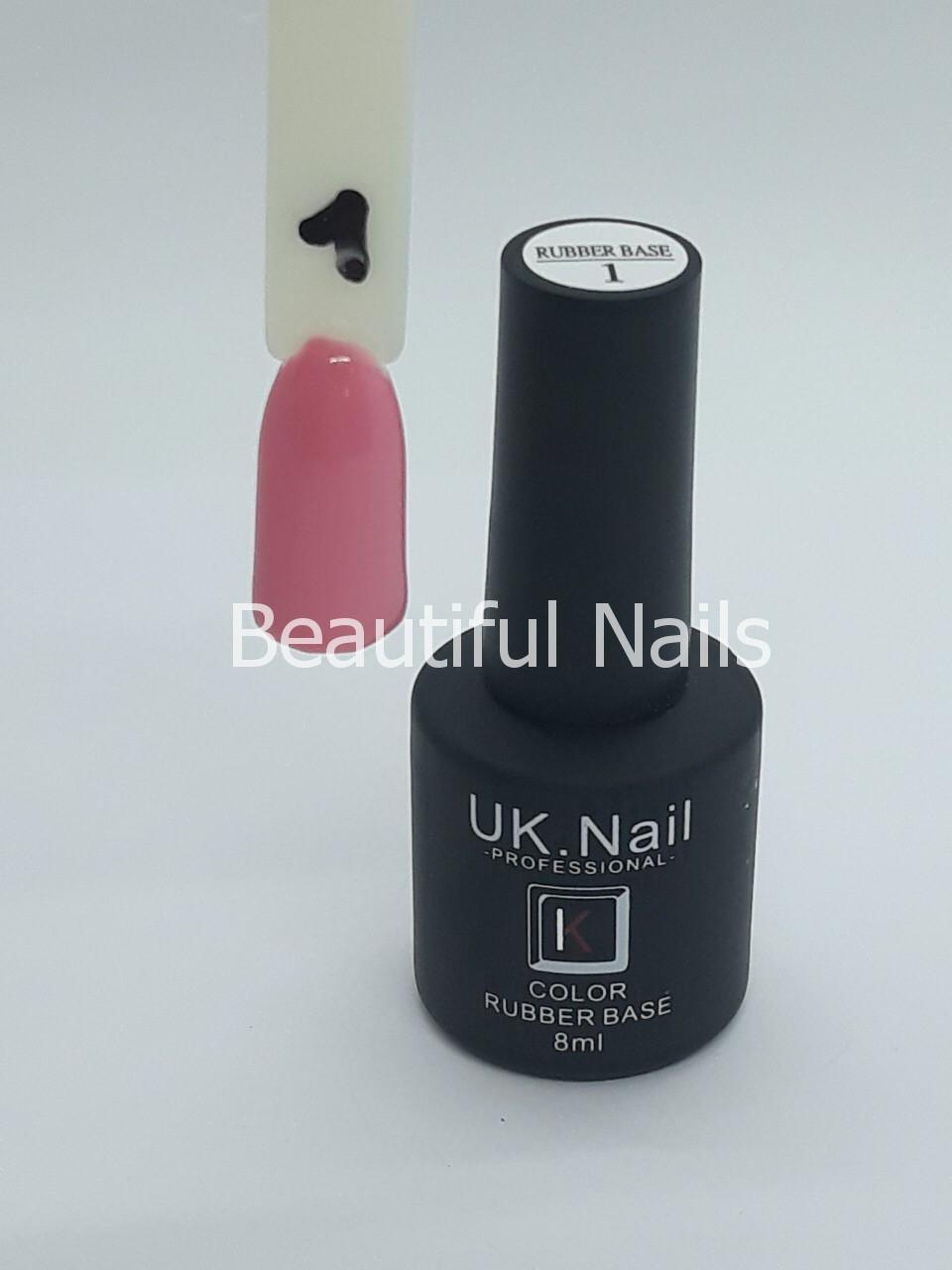 База для ногтей цветная UK.Nail Color Rubber Base№1  8 мл.