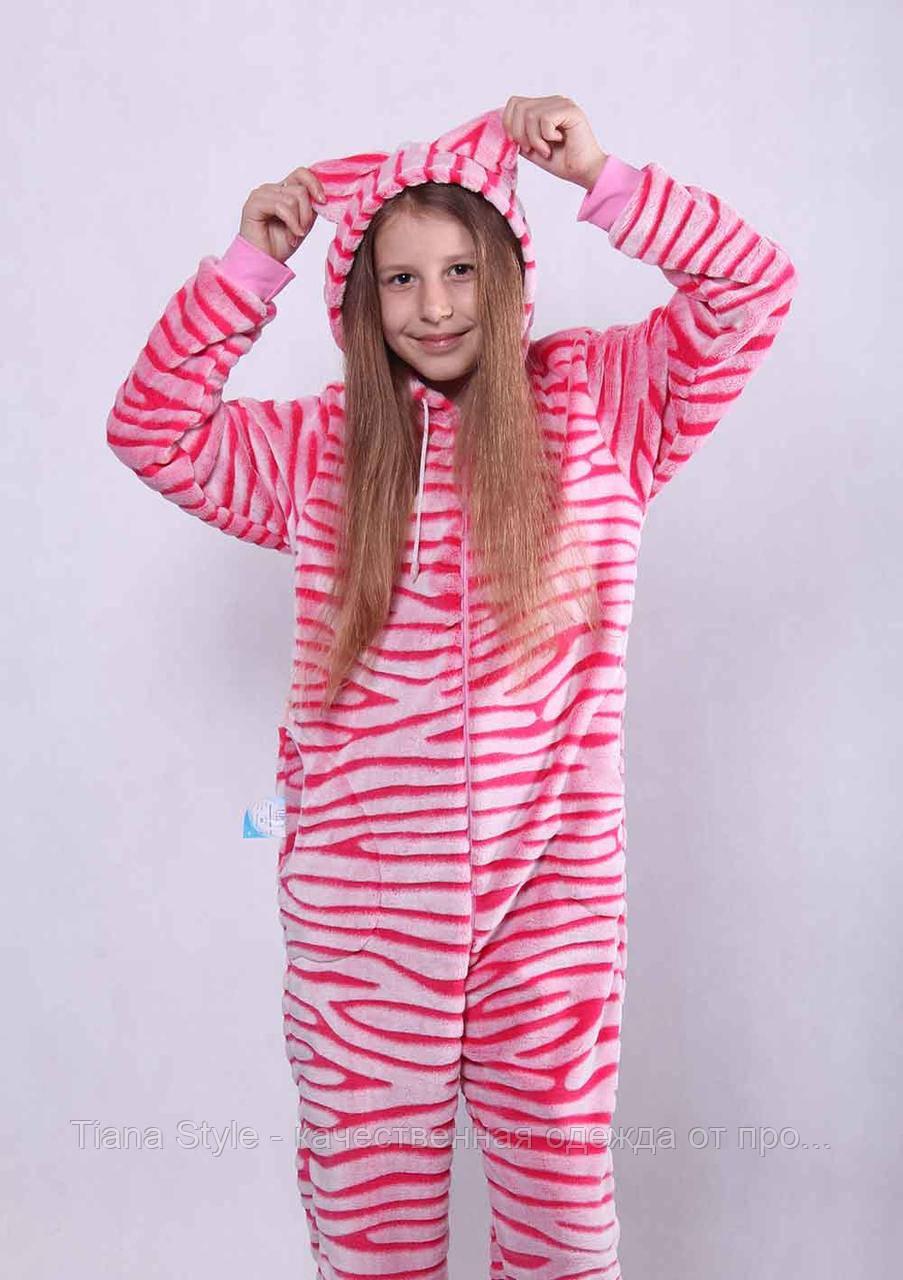 """Подростковый махровый кигуруми """"Pink"""" р. 36-40"""