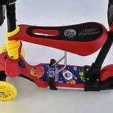 Самокат-беговел 5в1 Best Scooter 14777 с родительской ручкой и сиденьем, подсветка колес и платформы, фото 4