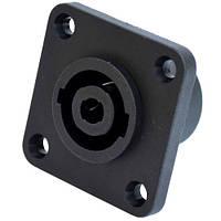 Разъём (гнездо) Спикон (XLR), 4-х контактное, монтажное, на панели квадратное
