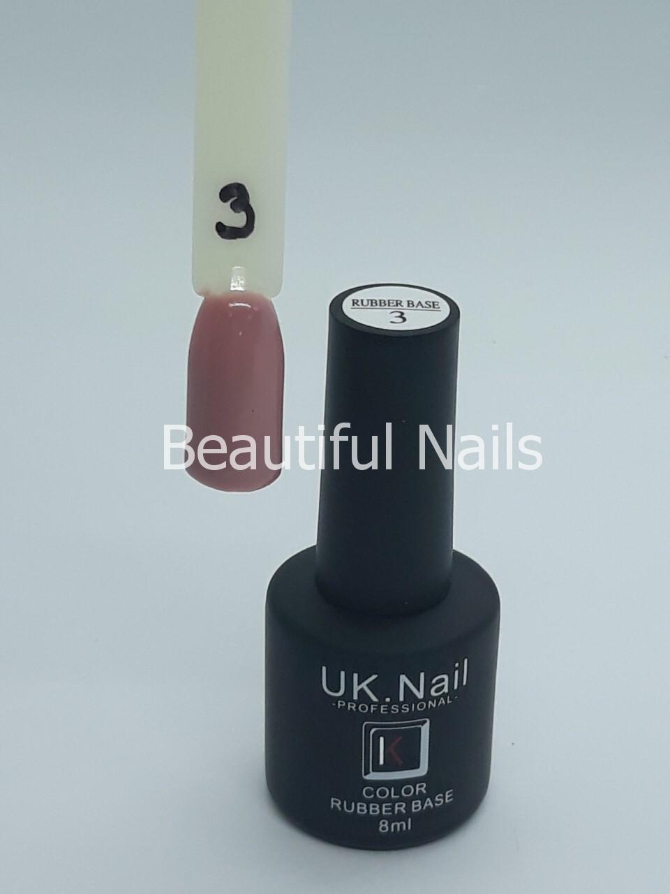 База для нігтів кольоровий UK.Nail Color Rubber Base№3 8 мл.
