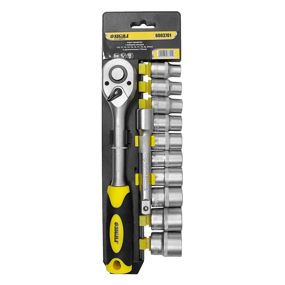 Ключ-трещотка ½ с набором насадок и удлинителем 12шт CrV mid Sigma (6003701)
