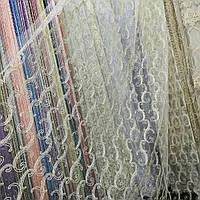 Кремова тюль із золотистою вишивкою корд (шнуром), фото 1