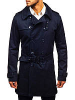 Мужской тренч классический темно-синего цвета. Стильный мужской классический плащ темно-синий.