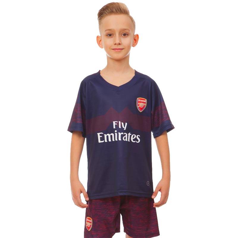 Форма футбольна дитяча ARSENAL гостьова 2019 SP-Planeta (р-р 20-28 6-14 років, 110-155см, т. синій-червоний)Z