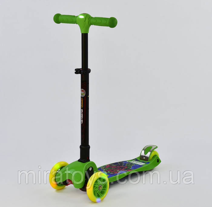 Самокат 37200 Best Scooter складной руль С ФАРОЙ, 4 колеса PU со светом, d=12 см