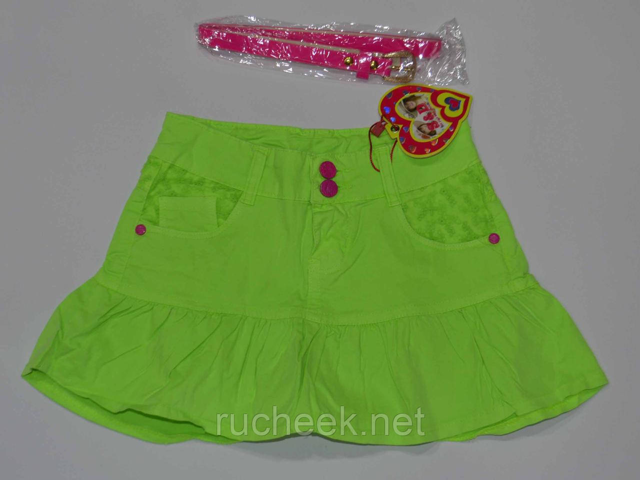 Яркая коттоновая юбка с оборкой для девочек рост 116-122, S&D KK-G14  Венгрия