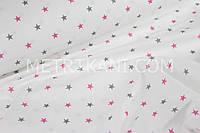 Ткань со звёздными серого и малинового цвета №140