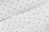 Ткань с бирюзовыми и серыми звёздочками  (№178)