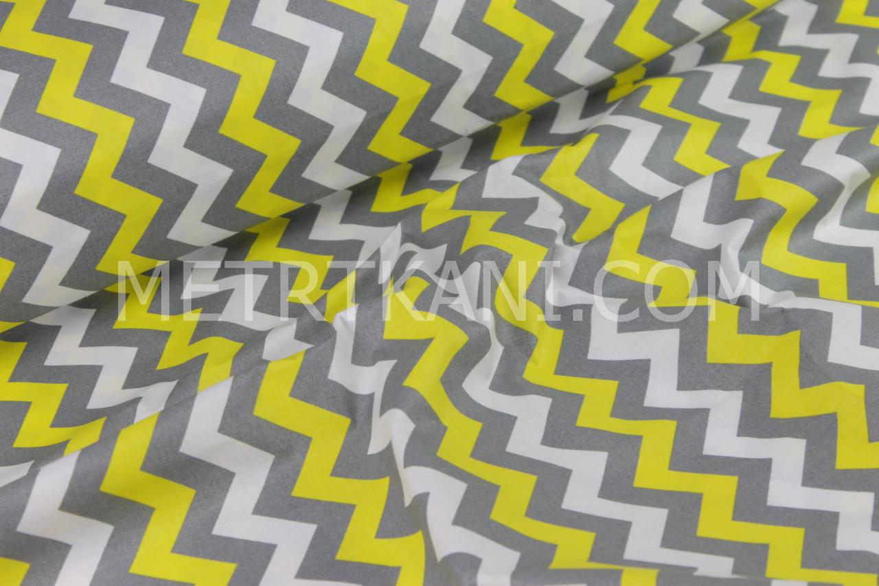 Польская бязь  желто-графитовый зигзаг  №553