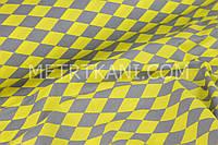 Польская бязь  серо-желтые ромбы  №554