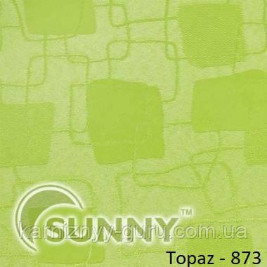 Рулонные шторы для окон в закрытой системе Sunny с плоскими направляющими - ПЛАСТИК,  ткань Topaz