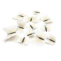 3d Бабочки с магнитом для декора бежевые 12 штук, фото 1