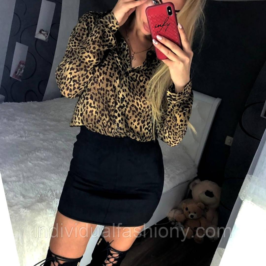 Шифоновая блуза с леопардовым принтом