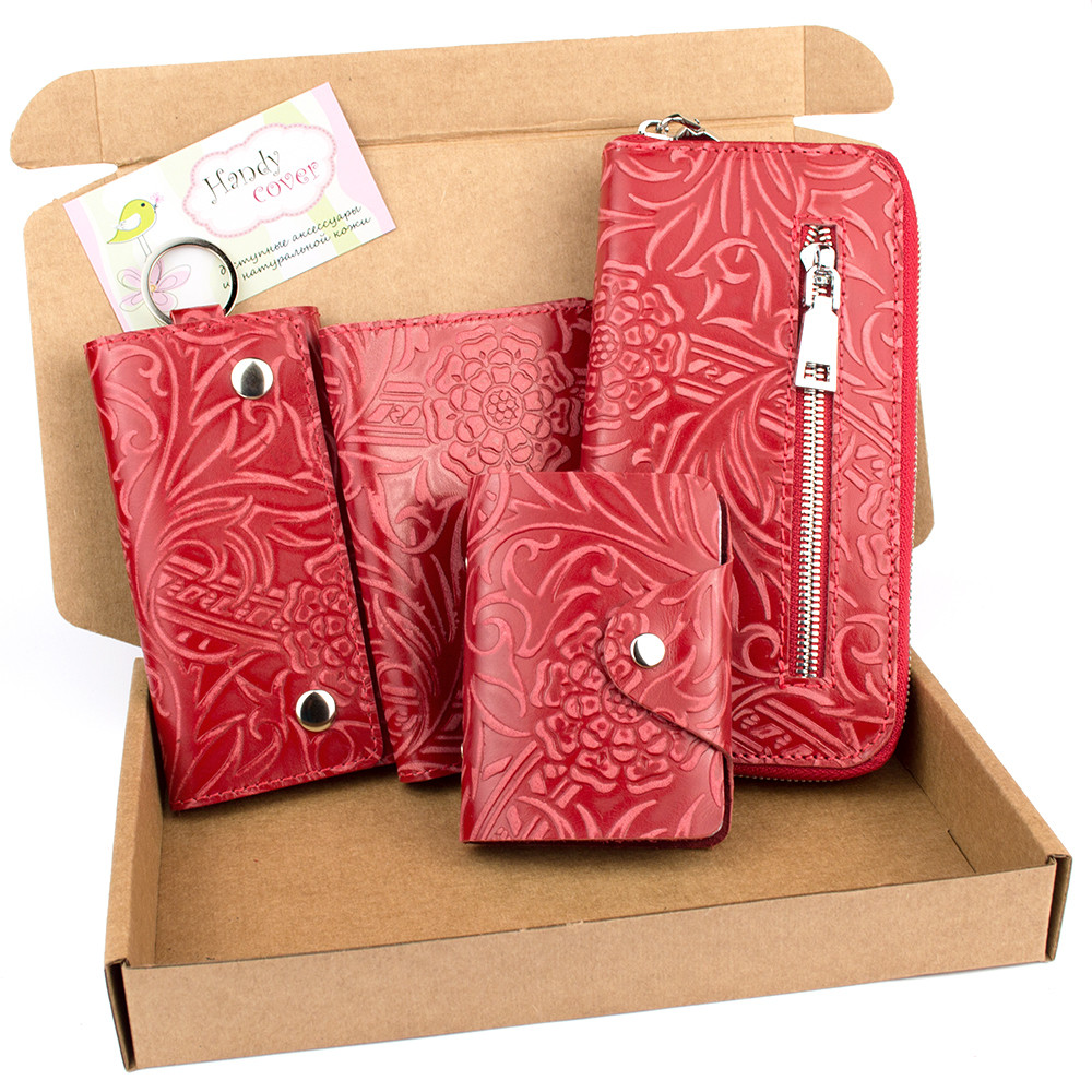 Подарочный набор №27: Кошелек + обложка на паспорт + ключница + визитница (красный цветочек)