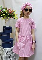 Модное летнее  платье для девочки  код 802  , размеры на рост от 104 до 122 возраст от 4 до 6 лет, фото 1