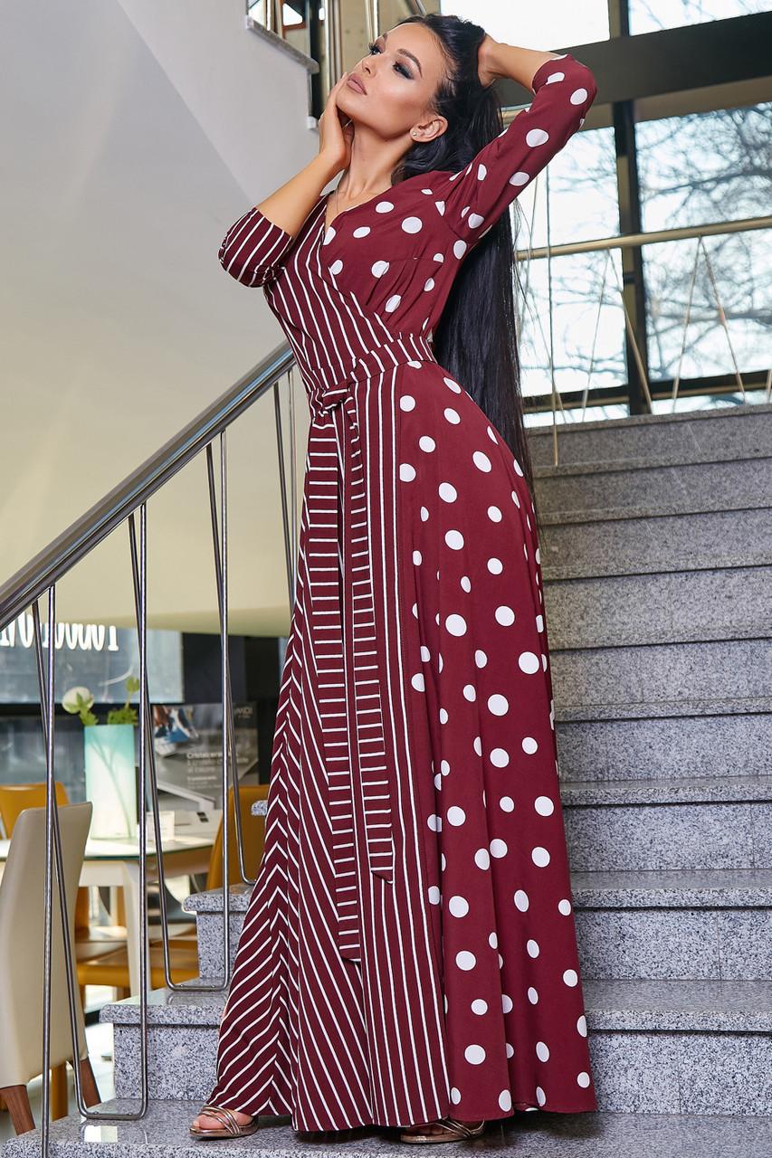 Красивое молодежное платье 3377 марсала горох-полоска (S-3XL)