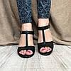 Женские кожаные босоножки на широком каблуке чёрного цвета с ремешками, фото 2