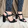 Женские кожаные босоножки на широком каблуке чёрного цвета с ремешками, фото 4