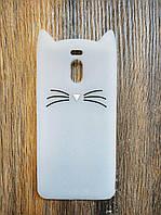 Объемный 3D силиконовый чехол для Meizu M6 Note Усатый кот белый