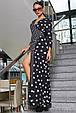 Красивое молодежное платье 3374 черный горох-полоска (S-3XL), фото 3
